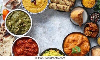 cuisine, pierre, plats, assorti, nourriture, arrière-plan., ...