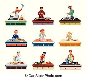 cuisine, plat, gens, nourriture, différent, ensemble, divers, illustration, dessin animé, style., vecteur, table.