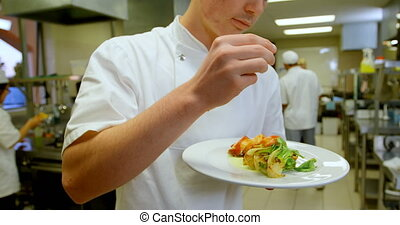 cuisine, plat, sel, 4k, arrosage, chef cuistot