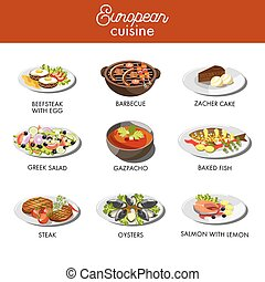cuisine, plats, restaurant, nourriture, menu, vecteur, gabarit, européen
