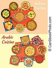 cuisine, plats, traditionnel, indien, arabe, icône