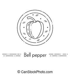 cuisine, poivre, cloche, nourriture, sain, végétarien, ligne mince, bannière