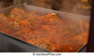 cuisine, porc, sauce., grill., jambe, tchèque, populaire, bière, articulation, rôti, plat, allemand