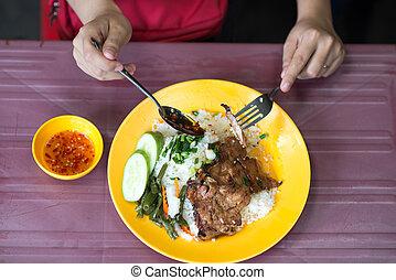 cuisine, porc, vietnamien, photo, sommet, côtelette, cassé, riz, vue