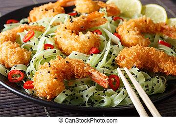 cuisine:, sesamo, tempura, giapponese, gamberetto, tagliatelle, chili verde, close-up., orizzontale, calce