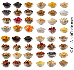 cuisine, - Choice dry food to utensils on a white background