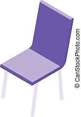 cuisine, style, icône, chaise, isométrique