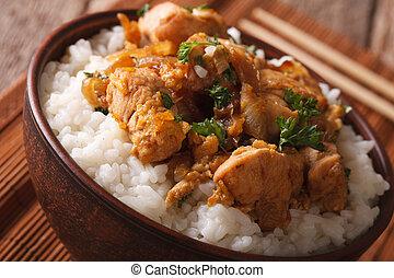 cuisine:, su., ciotola, giapponese, oyakodon, chiudere, orizzontale, riso