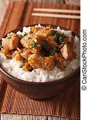 cuisine:, su., verticale, ciotola, giapponese, oyakodon, chiudere, riso