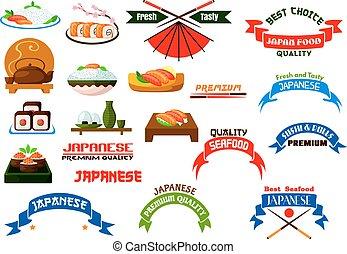 cuisine, sushi, ensemble, japonaise, icônes