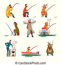cuisine, tige, illustration, soupe, vecteur, pêcheur, peche, feu