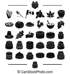 cuisine, toile, ensemble, style.biscuit, icônes, collection., légumes, délicatesse, dessert, autre, noir, célébration, icône