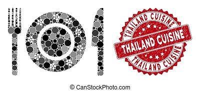 cuisine, vaisselle, restaurant, collage, thaïlande, cachet, gratté