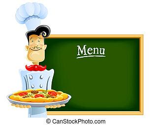 cuisinier, à, pizza, et, menu