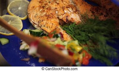 cuisinier, bol, salade, met