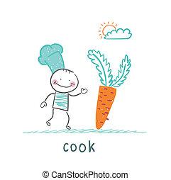 cuisinier, carotte, tenue