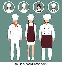 cuisinier, chef cuistot, chapeaux, restaurant, icônes