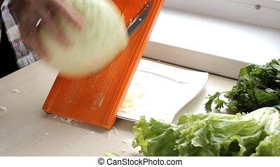 cuisinier, chou, salade, coupures