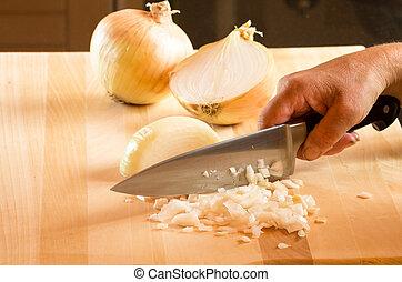 cuisinier, couper, oignons, couteau