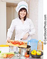 cuisinier, cuisine, tomates