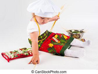 cuisinier, dorlotez fille, chapeau