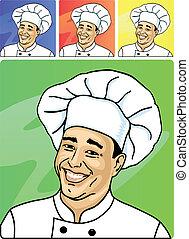 cuisinier, face souriant