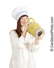 cuisinier, femme, bouteille