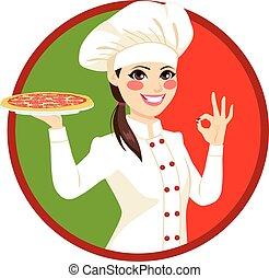 cuisinier, femme, italien