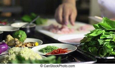 cuisinier, fish, sushi, couper