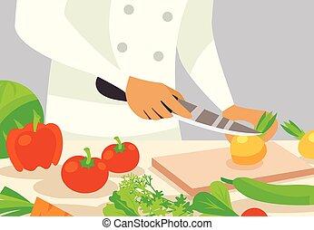 L gumes tranchoir fond bois l gumes illustration for Cuisinier 3 etoiles legumes