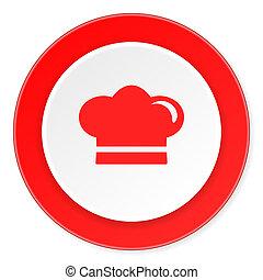 cuisinier, fond, moderne, icône, cercle, conception, plat, rouges, 3d, blanc