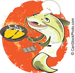 cuisinier, frire, poisson-chat