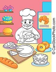cuisinier, gâteaux, livre coloration, pâtisseries