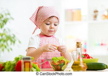 cuisinier, girl, gosse, légumes, préparer