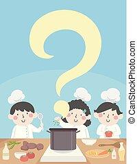 cuisinier, gosses, question, illustration, marque