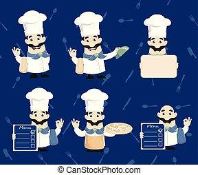 cuisinier, illustrations, vecteur