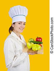 cuisinier, légumes, femme