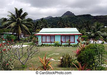 cuisinier, maison, rarotonga, îles, colonial
