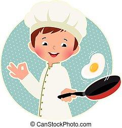cuisinier, oeuf frit, renverser, virtuose