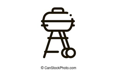 cuisinier, outillage, animation, barbecue, icône