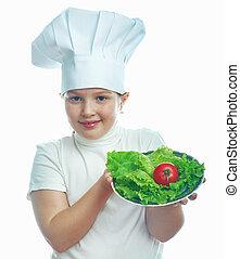 cuisinier, peu, chapeau, fille souriante