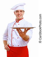 cuisinier, plateau, tenue, vide