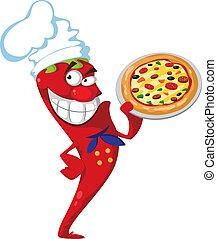 cuisinier, poivre, pizza