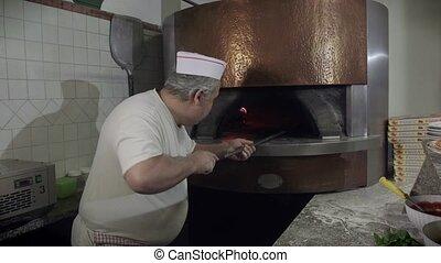 cuisinier, portrait, travail, homme pizza