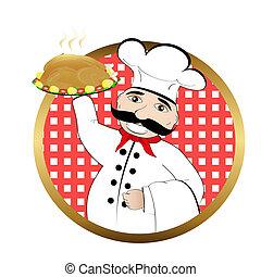 cuisinier, poulet, rôti