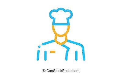 cuisinier, profession, animation, chef, icône