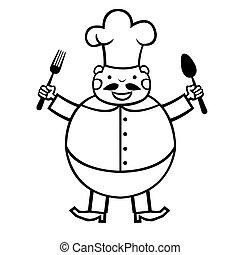cuisinier, rigolote, dessin animé