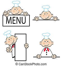 cuisinier, rigolote, ensemble