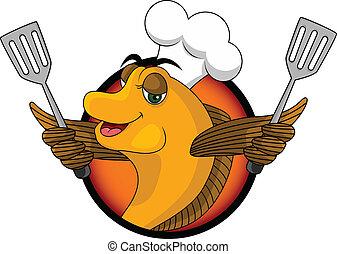 cuisinier, rigolote, fish, dessin animé