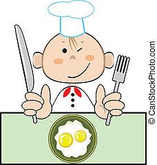 cuisinier, rigolote, vecteur